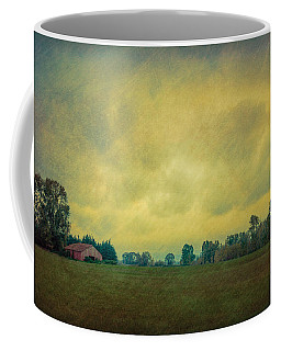 Red Barn Under Stormy Skies Coffee Mug