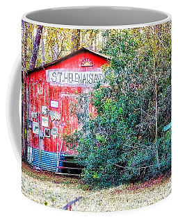 Red Barn With Signs, Heavily Guarded Coffee Mug