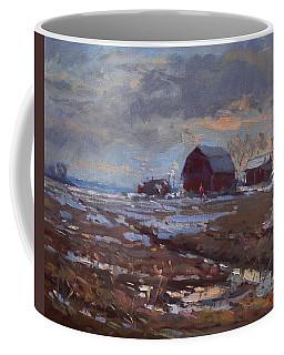 Red Barns In The Farm Coffee Mug