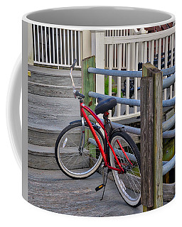 Coffee Mug featuring the photograph Red Bike by Linda Brown