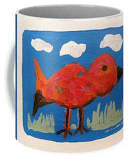 Red Bird In Grass Coffee Mug