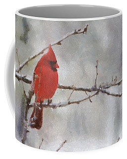 Red Bird Of Winter Coffee Mug