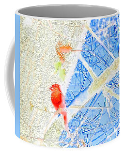 Red Bird Watching Over Coffee Mug
