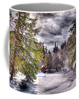 Coffee Mug featuring the photograph Red Boathouse After The Storm by David Patterson