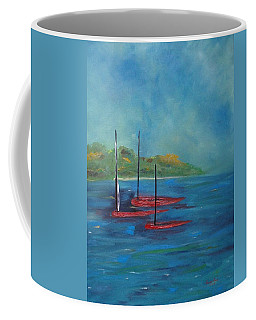 Coffee Mug featuring the painting Red Boats by Judith Rhue