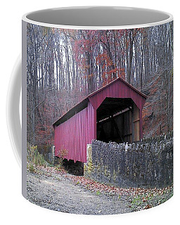 Coffee Mug featuring the photograph Red Bridge by Melinda Blackman