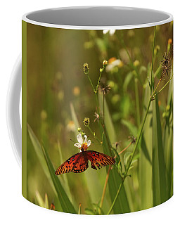 Red Butterfly In Daisy Field Coffee Mug