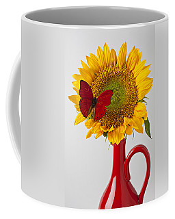 Red Butterfly On Sunflower On Red Pitcher Coffee Mug