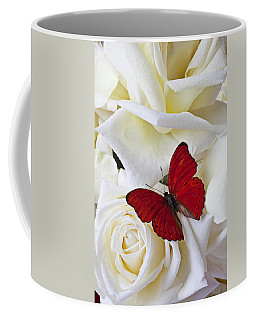 Red Butterfly On White Roses Coffee Mug