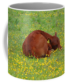 Red Calf In The Buttercup Meadow Coffee Mug