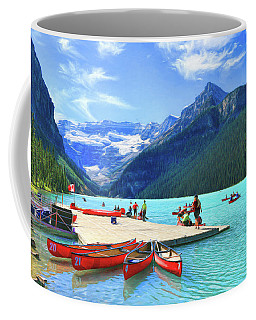 Coffee Mug featuring the photograph Red Canoes  Of Lake Louise - Banff National Park Canada by Ola Allen