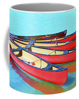 Coffee Mug featuring the photograph Red Canoes - Lake Louise by Ola Allen