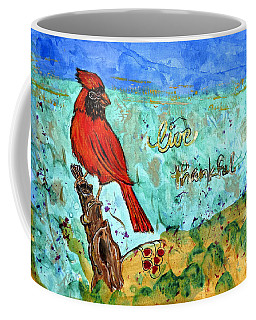 Coffee Mug featuring the painting Red Cardinal Live Thankful by Ella Kaye Dickey
