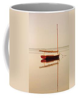 Red Catboat On Misty Harbor Coffee Mug