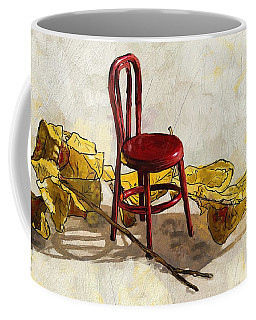 Red Chair And Yellow Leaves Coffee Mug