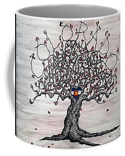 Coffee Mug featuring the drawing Red Colorado Love Tree by Aaron Bombalicki
