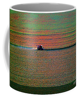 Red Combine Harvesting  Mchenry Aerial Coffee Mug