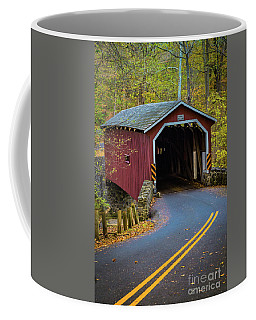 Red Covered Bridge In Lancaster County Park Coffee Mug