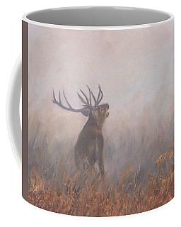 Red Deer Stag Early Morning Coffee Mug by David Stribbling