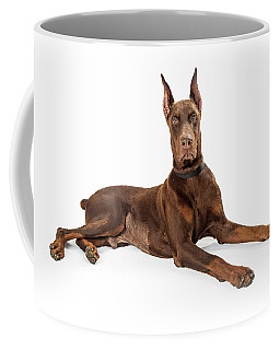 Red Doberman Pinscher Dog Lying Profile Coffee Mug