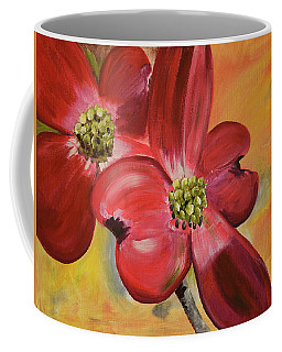 Red Dogwood - Canvas Wine Art Coffee Mug