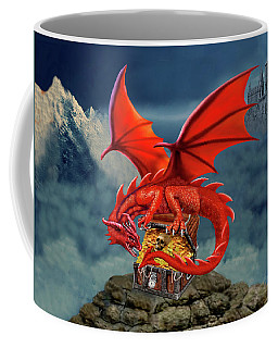 Red Dragon Guardian Of The Treasure Chest Coffee Mug by Glenn Holbrook