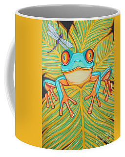 Red Eyed Tree Frog And Dragonfly Coffee Mug