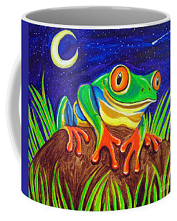 Red-eyed Tree Frog And Starry Night Coffee Mug by Nick Gustafson