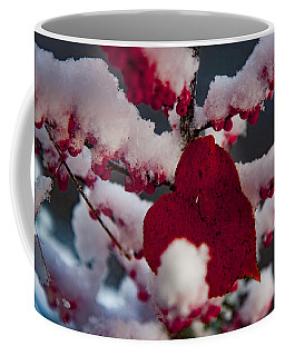 Red Fall Leaf On Snowy Red Berries Coffee Mug