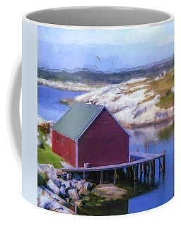 Red Fishing Shed On The Cove Coffee Mug