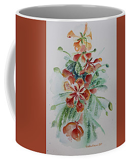 Red Flamboyant Flowers Still Life In Watercolor  Coffee Mug