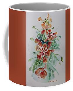 Red Flamboyant Flowers Still Life In Watercolor  Coffee Mug