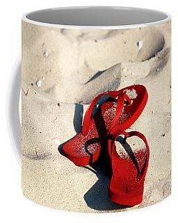 Coffee Mug featuring the photograph Red Flip Flops by John Rizzuto