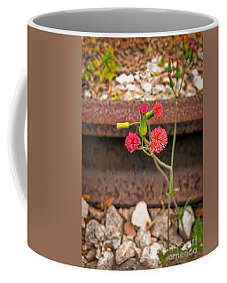 Red Flower On Rr Tracks Ver 1 Coffee Mug