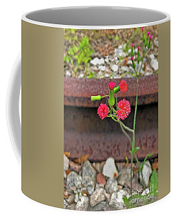 Red Flower On Rr Tracks Ver 2 Coffee Mug