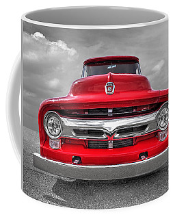 Red Ford F-100 Head On Coffee Mug