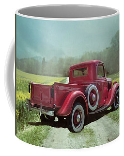 Coffee Mug featuring the photograph Red Ford Pick-up by Robin-Lee Vieira