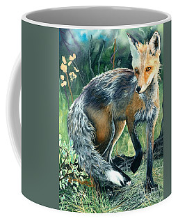 Coffee Mug featuring the painting Red Fox- Caught In The Moment by Barbara Jewell