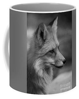 Red Fox Portrait In Black And White Coffee Mug