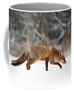Red Fox Running Through A White World Coffee Mug