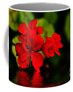 Red Geranium On Water Coffee Mug