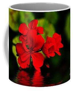 Red Geranium On Water Coffee Mug by Kaye Menner