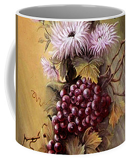Red Grapes And Flowers Coffee Mug