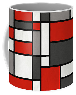 Red Grey Black Mondrian Inspired Coffee Mug