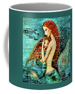 Red Hair Mermaid Mother And Child Coffee Mug