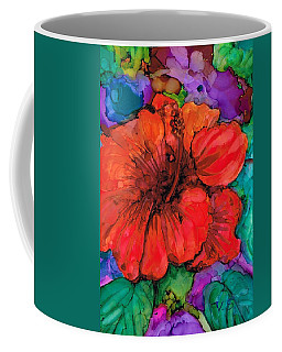 Coffee Mug featuring the painting Red Hibiscus by Val Stokes