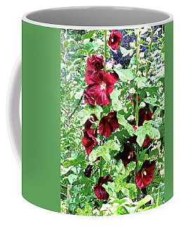 Coffee Mug featuring the photograph Red Hollyhocks by Stephanie Moore