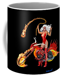 Red Hot Dragon Biker Babe Coffee Mug by Glenn Holbrook