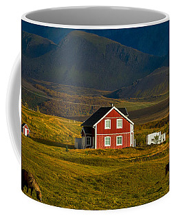 Red House And Horses - Iceland Coffee Mug by Stuart Litoff