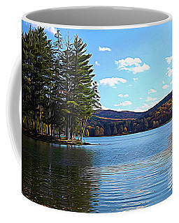 Red House Lake Allegany State Park In Autumn Expressionistic Effect Coffee Mug